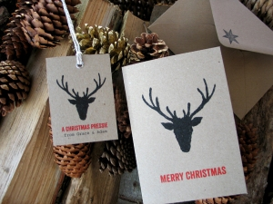 Personalised Reindeer  Christmas tree gift tags.  An alternative to sending a Christmas card. From Millbank and Kent